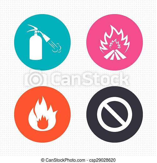 Fire Flame Icons Prohibition Stop Symbol Circle Buttons Fire