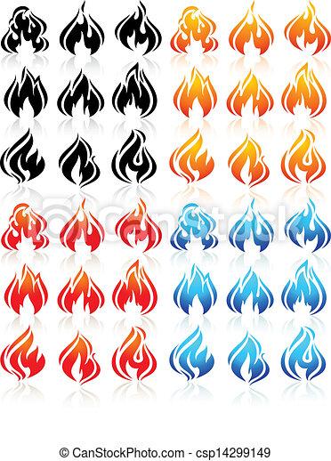 Fire flames, big set new icons - csp14299149