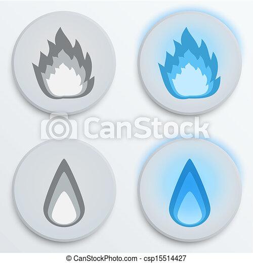 Fire flames blue, set icons, vector illustration - csp15514427