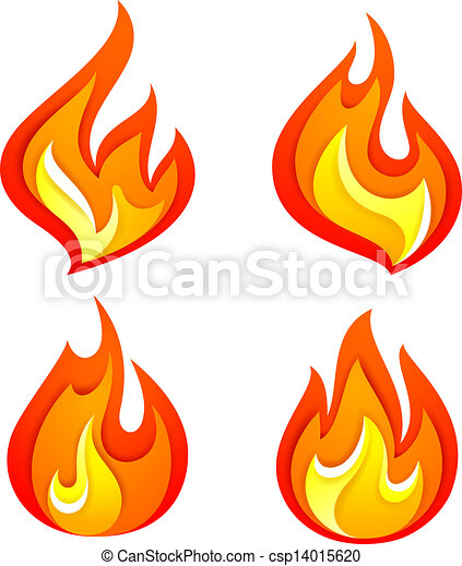 set of fire flames isolated on white background vector vector rh canstockphoto com realistic fire flames clipart fire flames clipart black and white