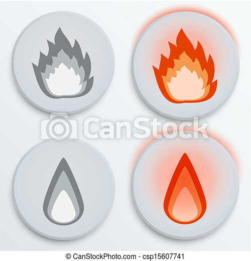 Fire flames red, set icons, vector illustration - csp15607741
