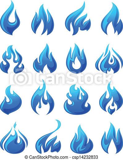 Fire flames, set 3d blue icons - csp14232833