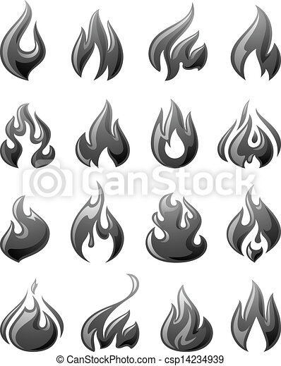 Fire flames, set 3d gray icons - csp14234939
