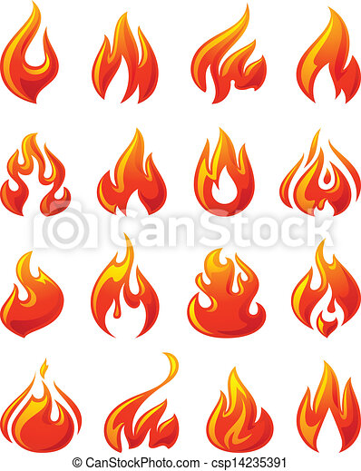 Fire flames, set 3d red icons - csp14235391