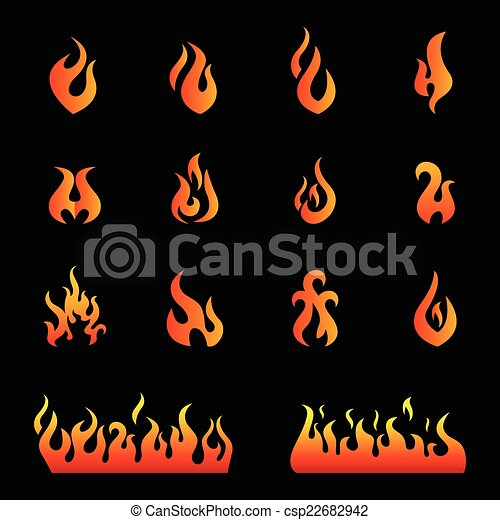 Fire flames, set icons - csp22682942
