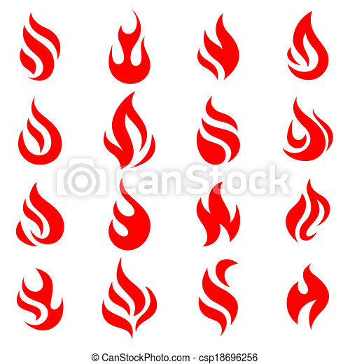 Fire flames, set icons, vector illustration - csp18696256