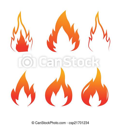 Fire flames set icons, vector - csp21701234
