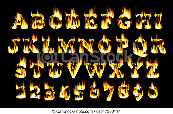 Fire font, alphabet of flame. - csp47350114