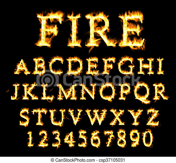 Fire font collection, alphabet of flame. - csp37105031