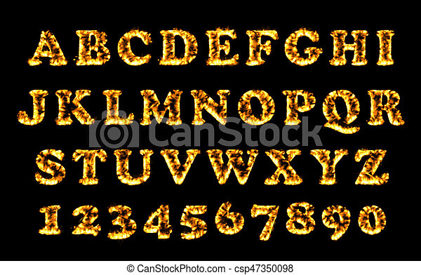 Fire font collection, alphabet of flame. Fire burning letters set. - csp47350098