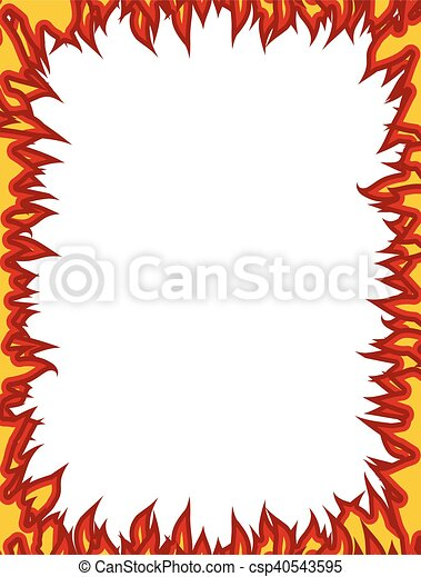 Fire frame. Flames on edges. Flame background - csp40543595