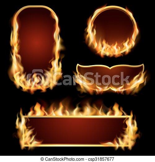 Fire frames set. Burning fire realistic frames set on black ...