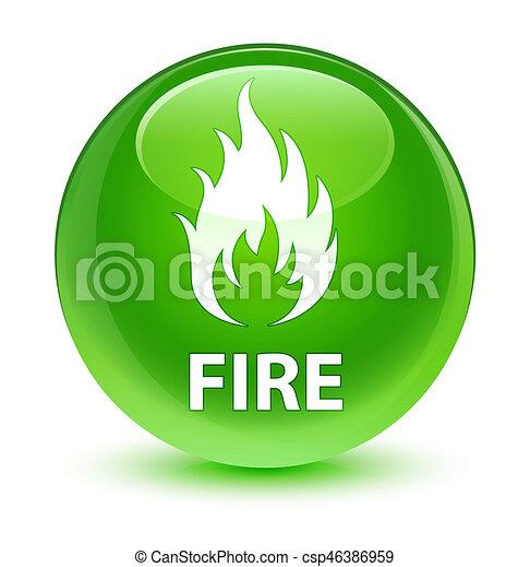 Fire glassy green round button - csp46386959