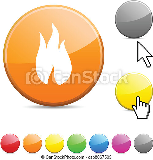 Fire glossy button. - csp8067503