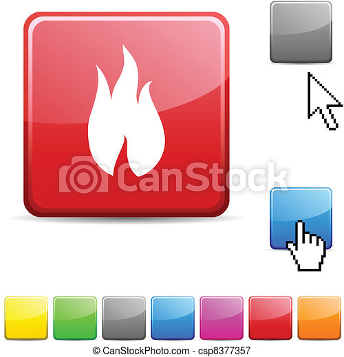 Fire glossy button. - csp8377357