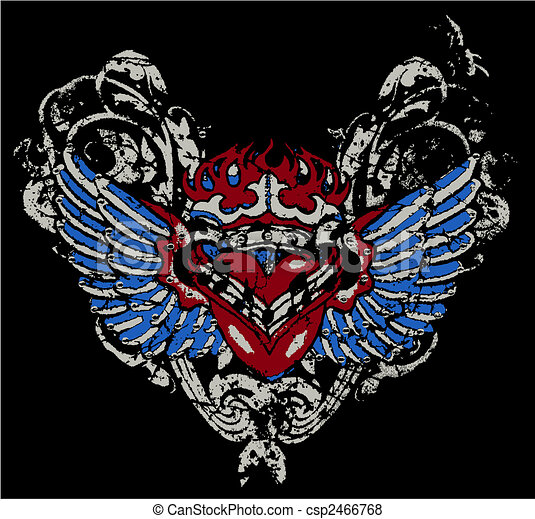 Fire Heart With Wing - csp2466768