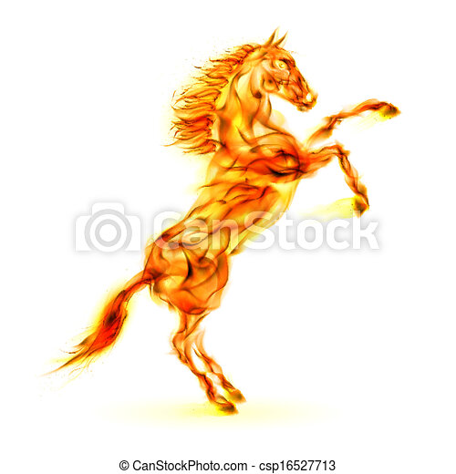 Fire horse rearing up.  - csp16527713