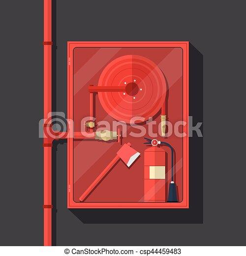 Fire Hose Cabinet On Dark Background   Csp44459483