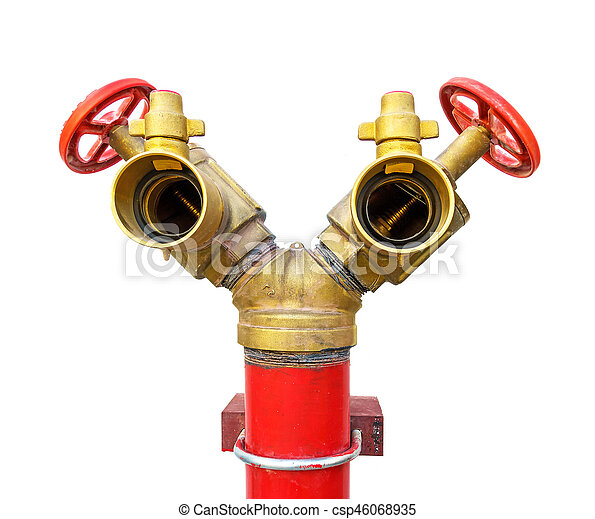 fire hydrant red and golden fire hose 2 heads on white background