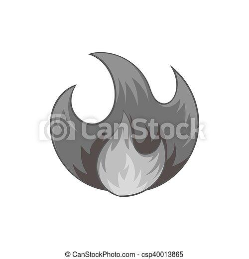 Fire icon, black monochrome style - csp40013865