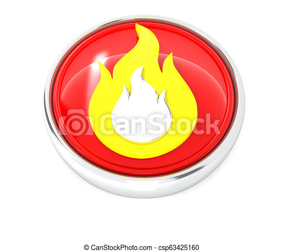 Fire icon on glossy red round button - csp63425160