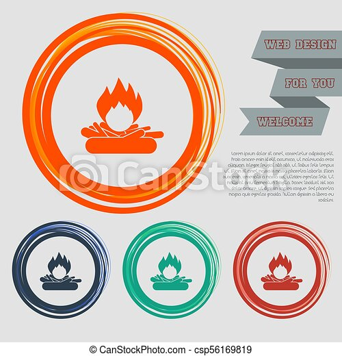 Fire Icon on the red, blue, green, orange buttons for your website and design with space text. Vector - csp56169819