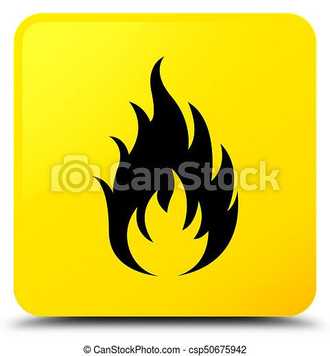 Fire icon yellow square button - csp50675942