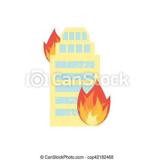 Fire in building. Flames from office windows. Arson home. Burn facility. Spontaneous disaster. Apocalypse on earth - csp42182468