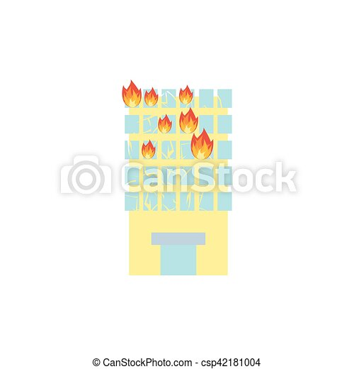 Fire in building. Flames from office windows. Arson home. Burn facility. Spontaneous disaster. Apocalypse on earth - csp42181004