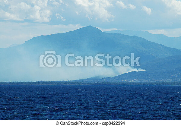 Fire in the corsican mountains - csp8422394
