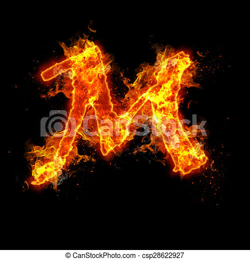 fire letter m isolated on black background
