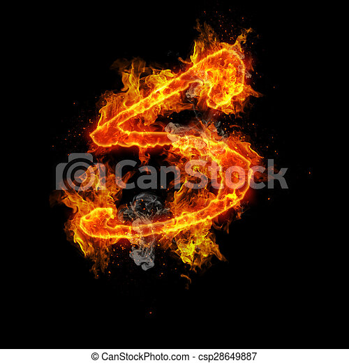 dcb4b13303fd Fire letter s isolated on black background.