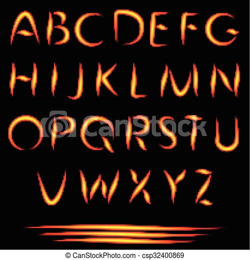 Fire Letters Burning Font Glowing Alphabet Vector No Mesh Used