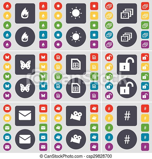 Fire, Light, Gallery, Butterfly, File, Lock, Message, Film camera, Hashtag  icon symbol  A large set of flat, colored buttons for your design  Vector