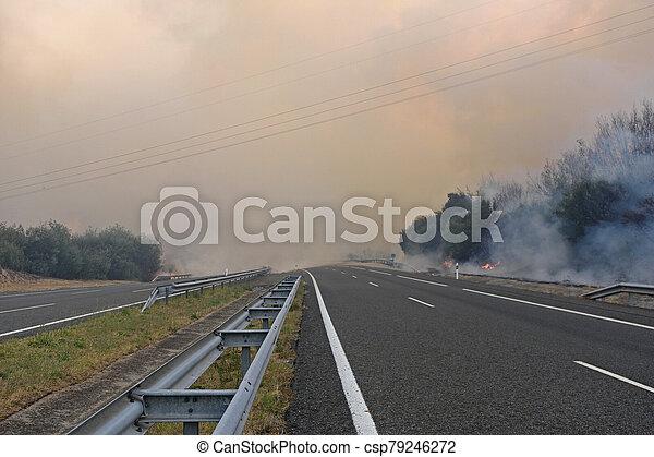 fire near the Galician town of Verin, Spain - csp79246272