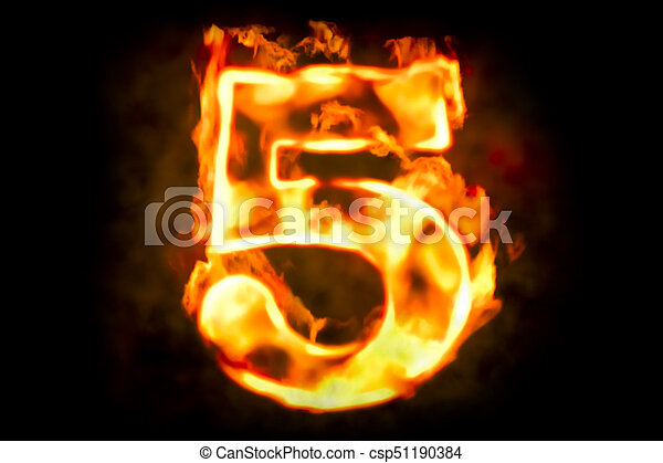 Fire number 5 of burning flame light, 3D rendering - csp51190384