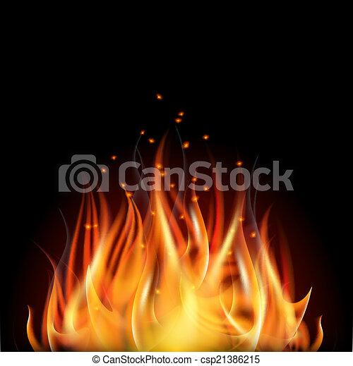 Fire on dark background. - csp21386215
