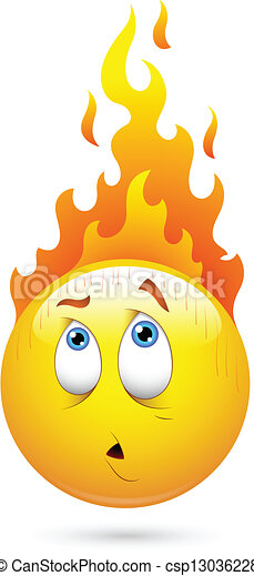 Fire on Head Smiley Face - csp13036228