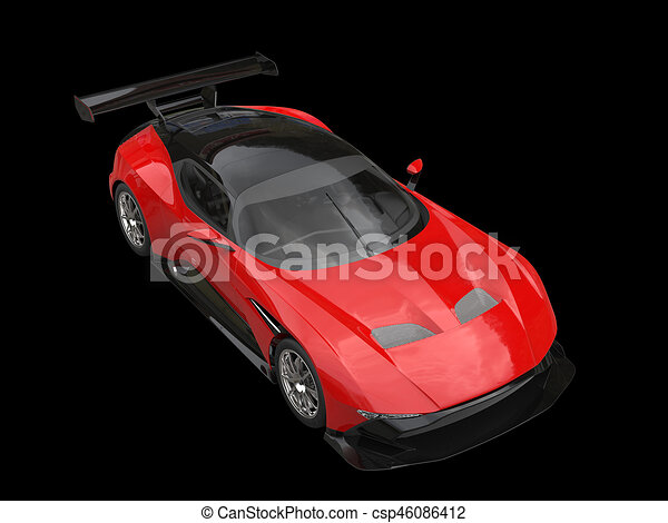 Fire Red Sports Car Top Down View