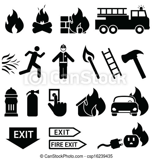 Fire related icon set - csp16239435