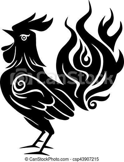 Fire Rooster Chinese New Year Black Symbol 2017 Clip Art