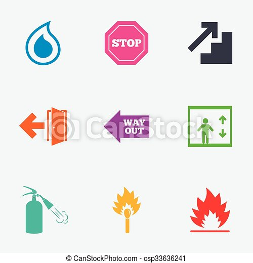 Fire Safety Emergency Icons Extinguisher Sign Fire Safety