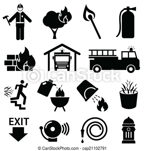 Fire Safety Icons Fire Safety Icon Set In Black