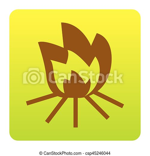 Fire sign. Vector. Brown icon at green-yellow gradient square with rounded corners on white background. Isolated. - csp45246044