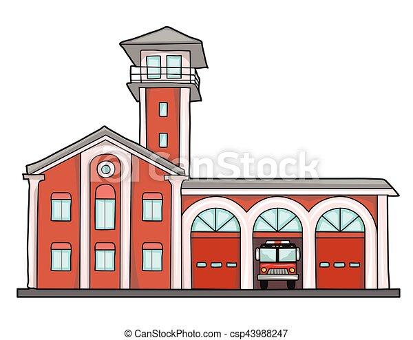 Fire Station Old Brick Building Garage For Trucks Eps