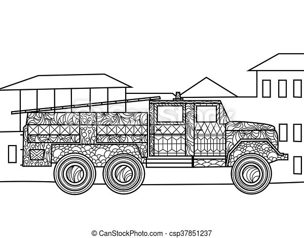 - Fire Truck Coloring Book For Adults Vector Illustration. CanStock
