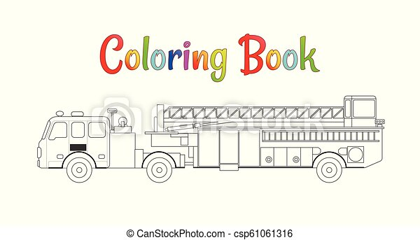 fire truck coloring book vector coloring pages for kids vector illustration eps 10