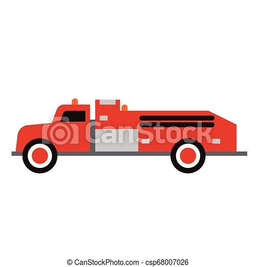 Fire truck flat illustration on white - csp68007026