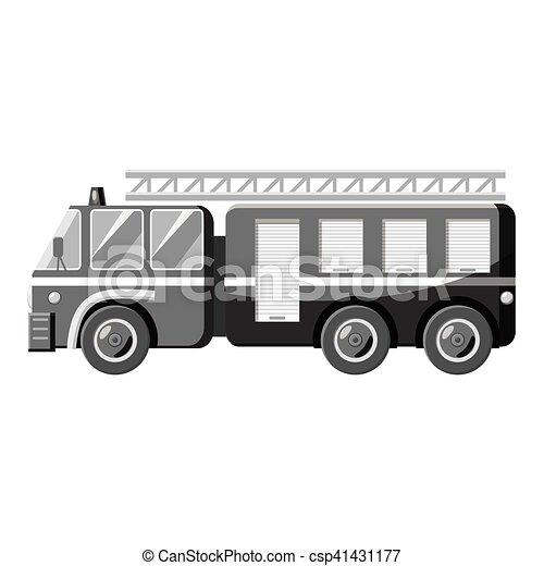 Fire truck icon, gray monochrome style - csp41431177