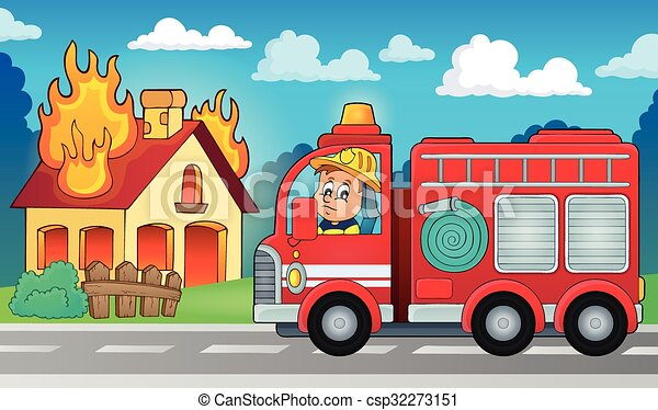 Fire truck theme image 5 - csp32273151